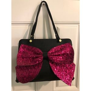 Betsey Johnson tote with large pink bow
